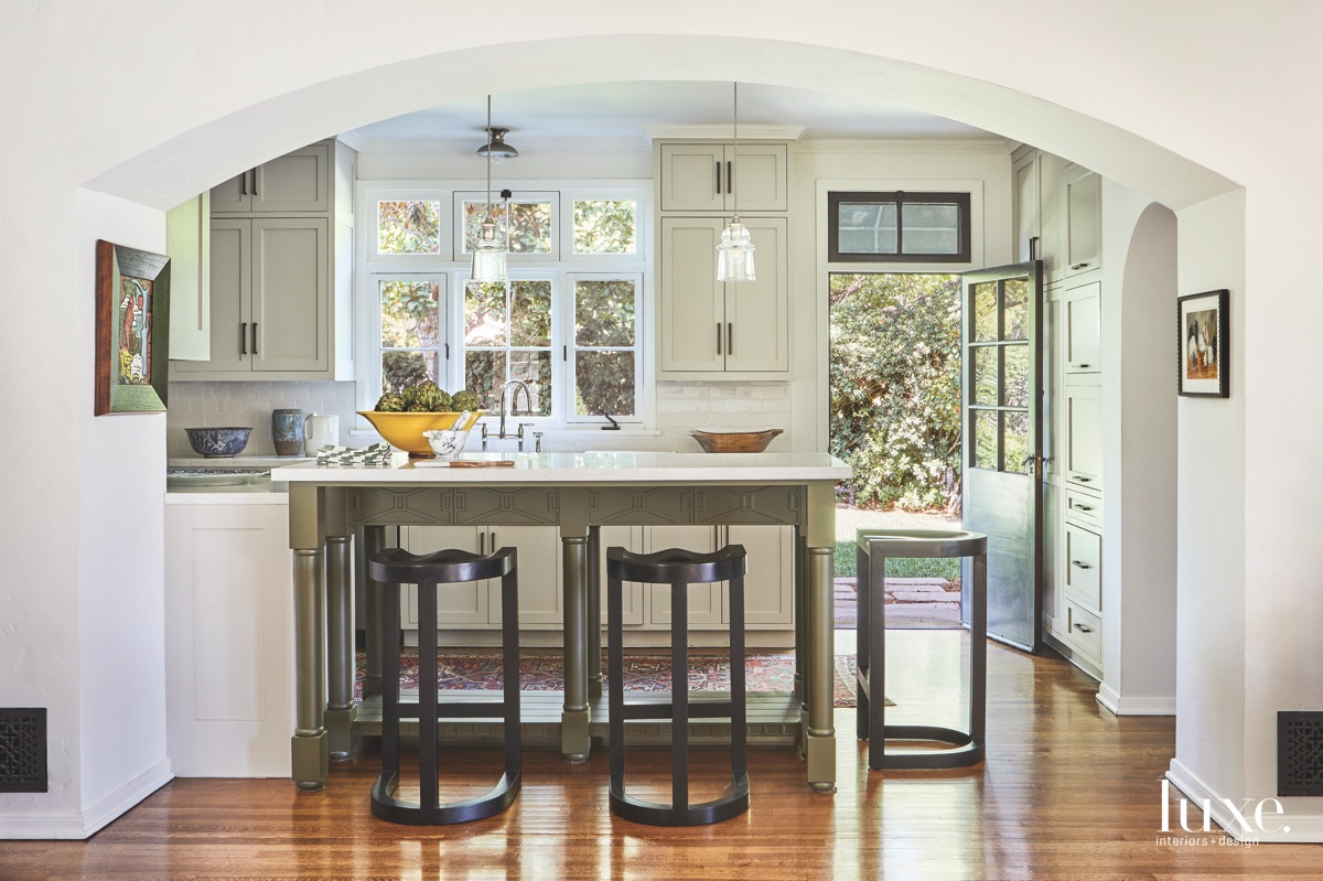 eclectic kitchen white cabinetry island...