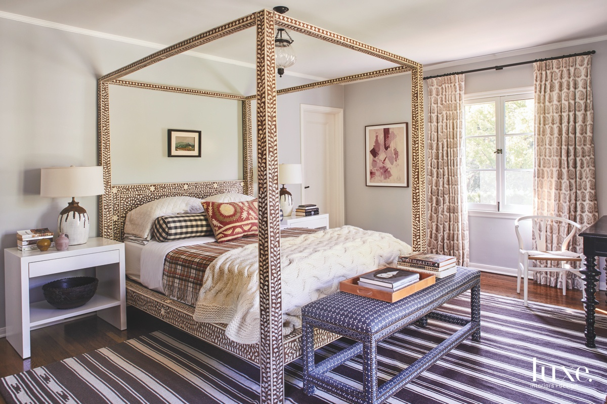eclectic bedroom canopy bed striped...