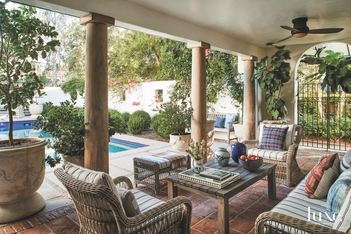eclectic loggia pool area sitting...