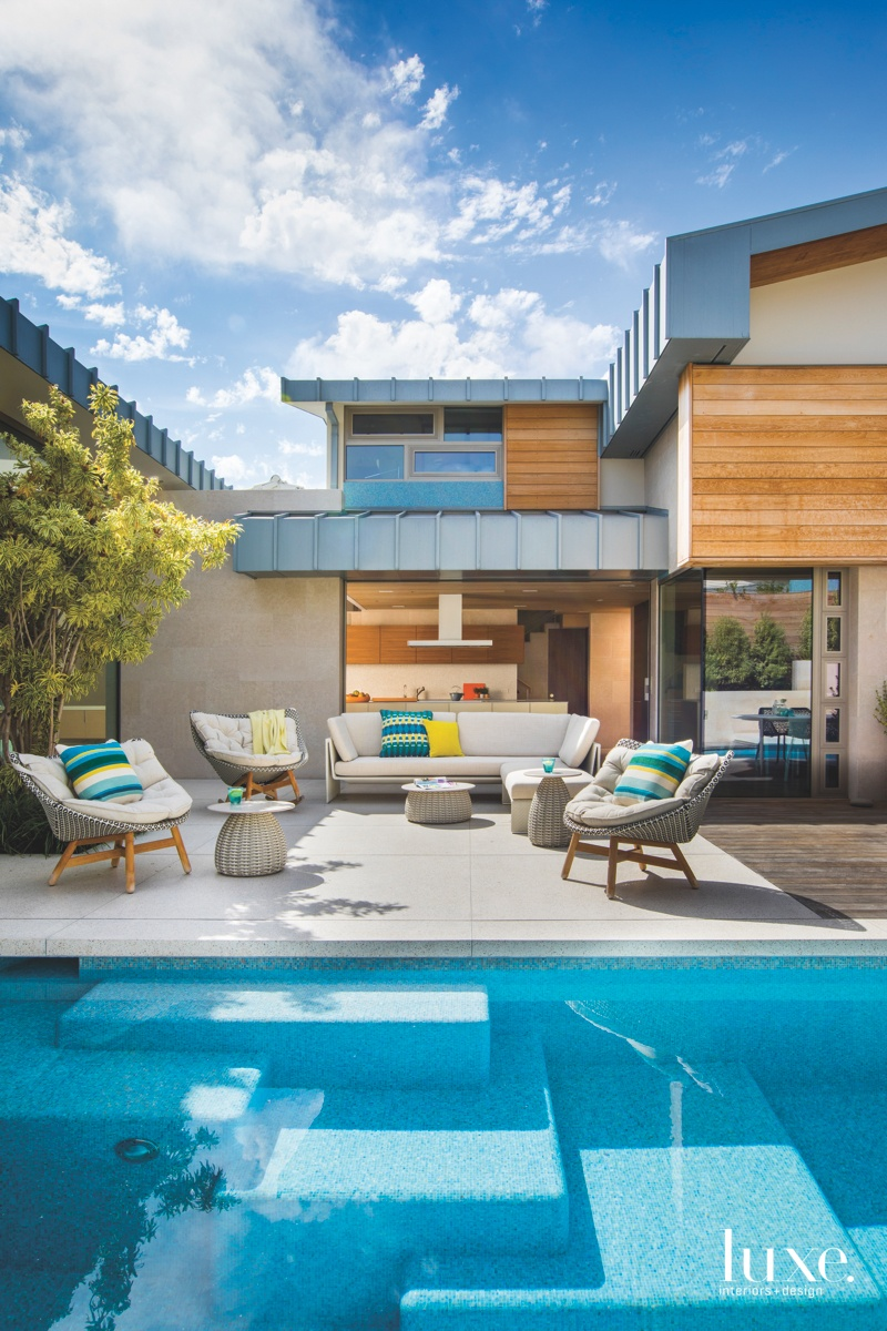 contemporary exterior neutral pool sitting...