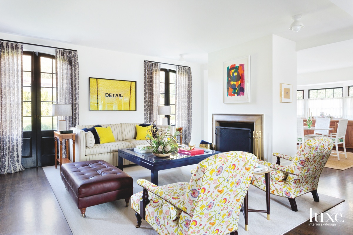 traditional living room yellow accents