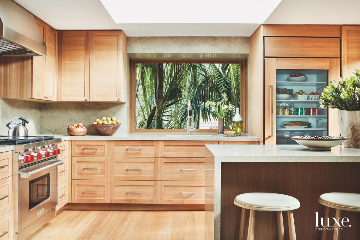 Eisner designed the kitchen's teak...
