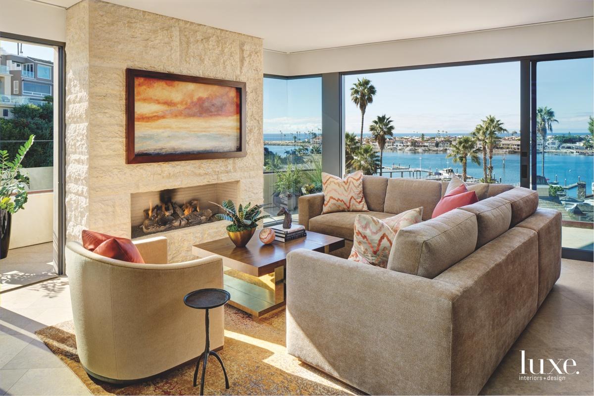 contemporary living room fireplace gray...