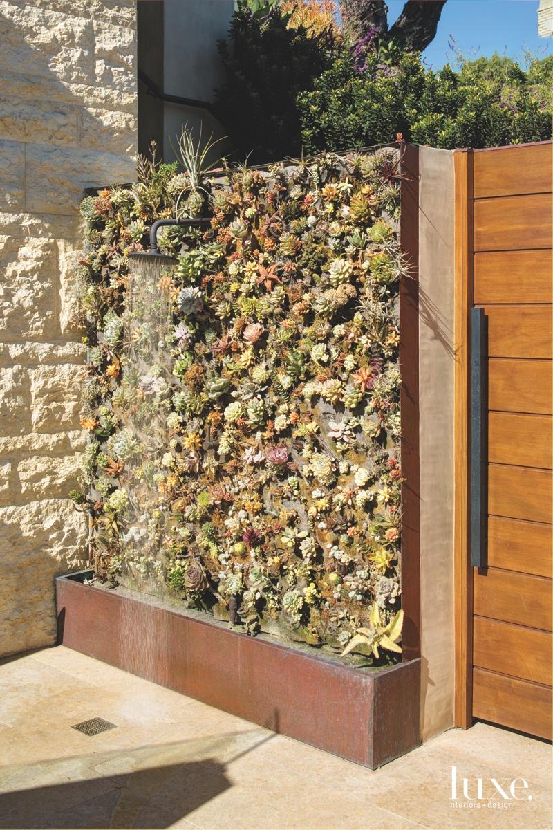 contemporary exterior outdoor shower wall...
