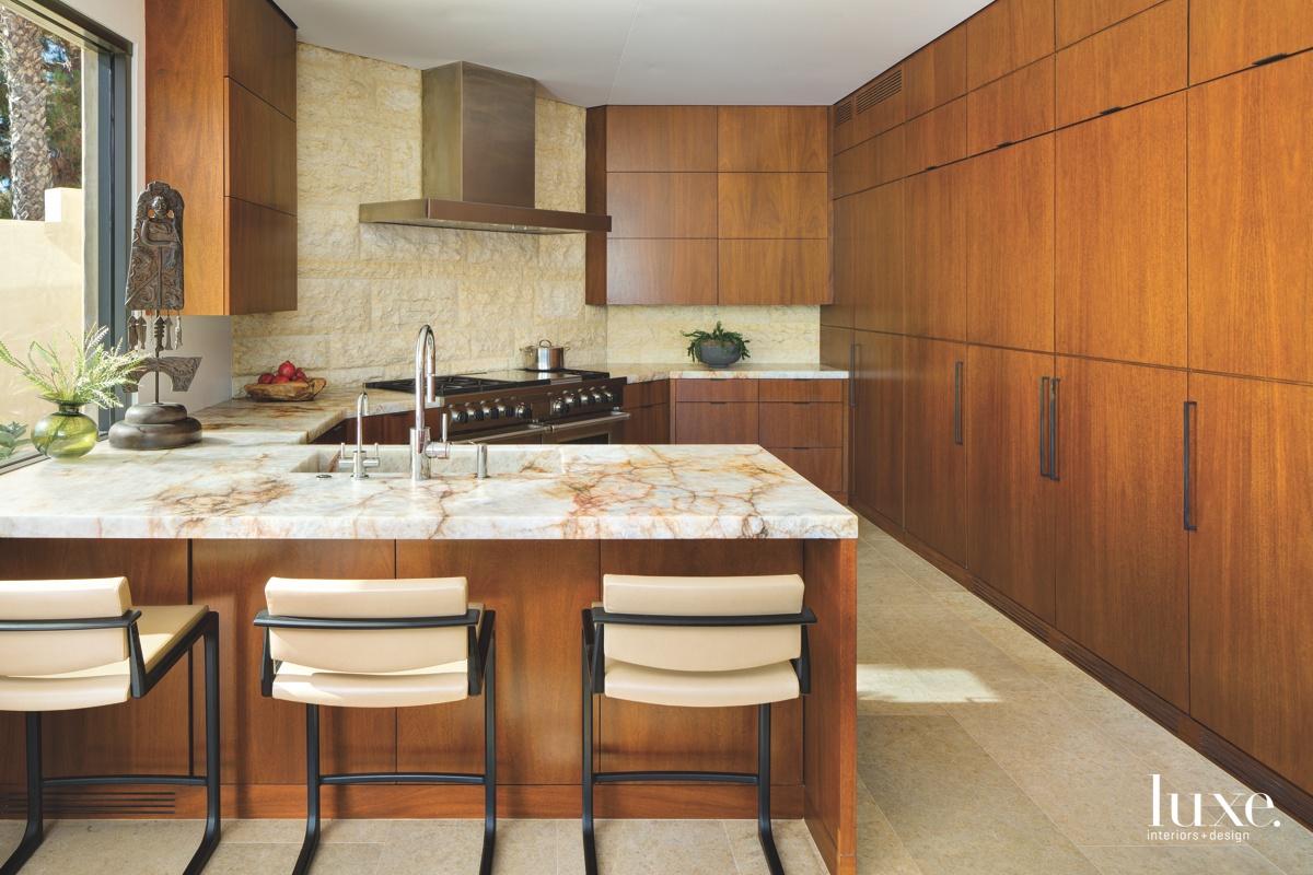 contemporary brown wood cabinetry quartz...