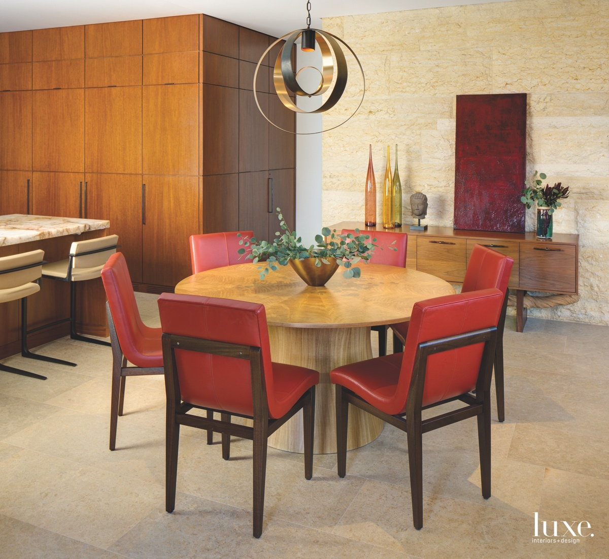 contemporary dining room red chairs...