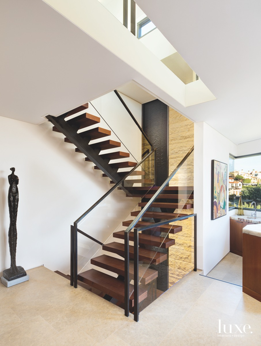contemporary brown staircase bronze railings...