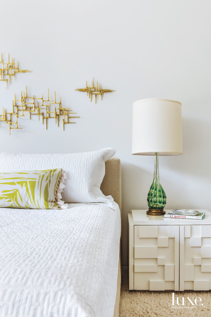 mid-century modern white bed lime...