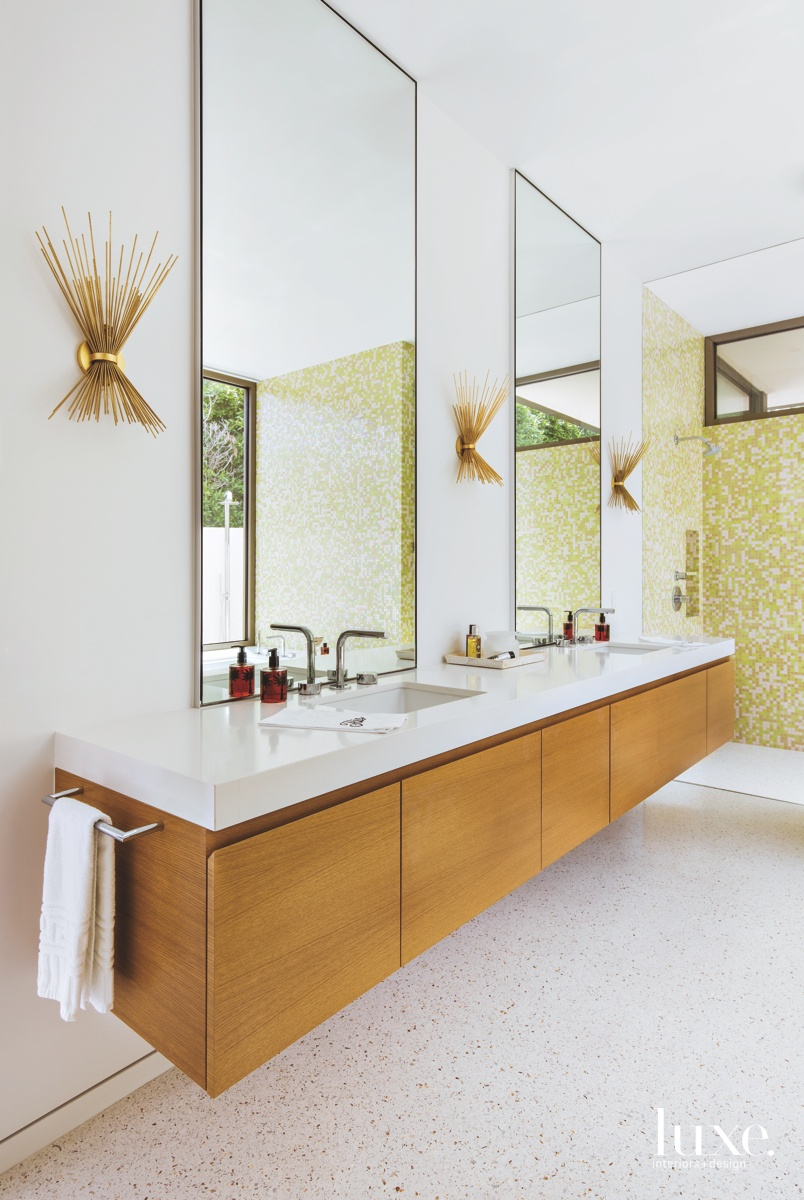 mid-century modern bathroom yellow/green mosaic...