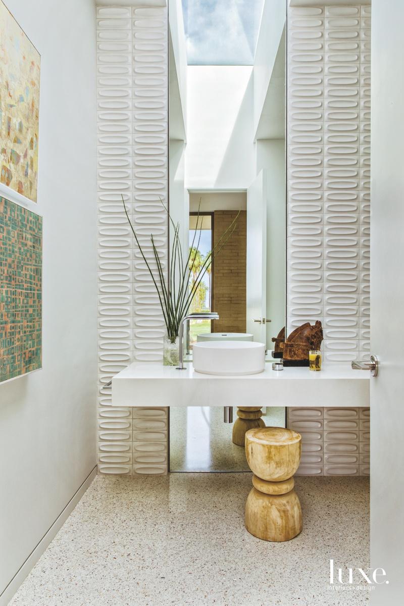 mid-century modern neutral bathroom white...
