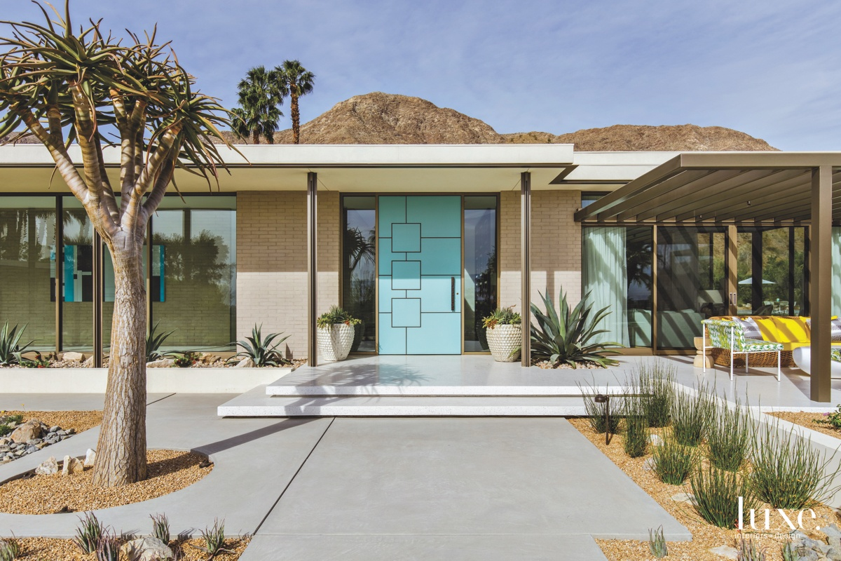 mid-century modern exterior neutral entry...