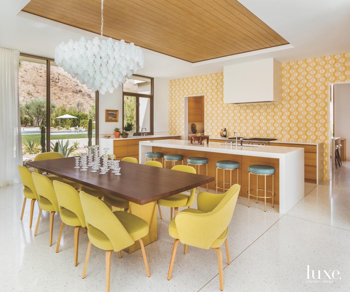 mid-century modern yellow kitchen and...