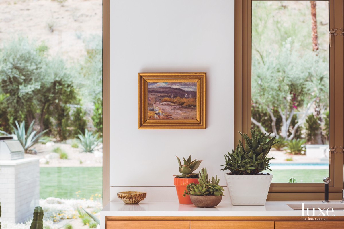 mid-century modern kitchen potted succulents