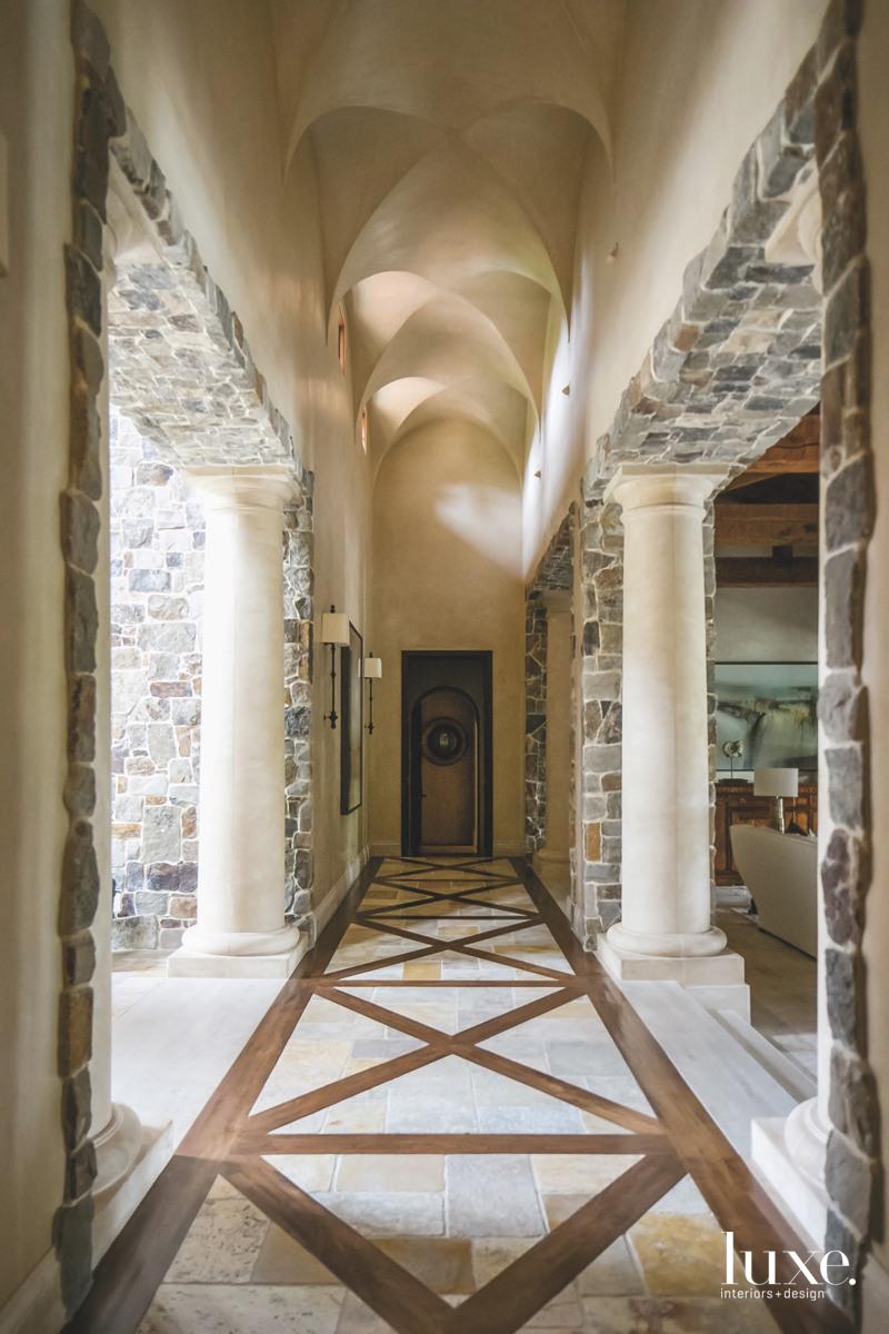 mediterranean hallway corridor vaulted ceiling