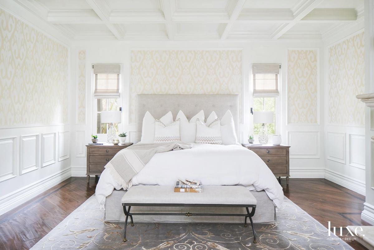mediterranean bedroom white neutral bed
