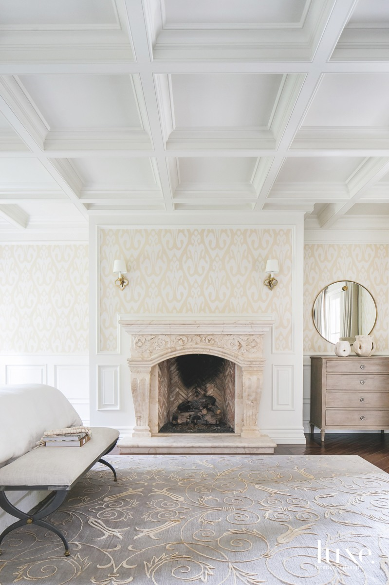 mediterranean bedroom coffered ceiling chest...