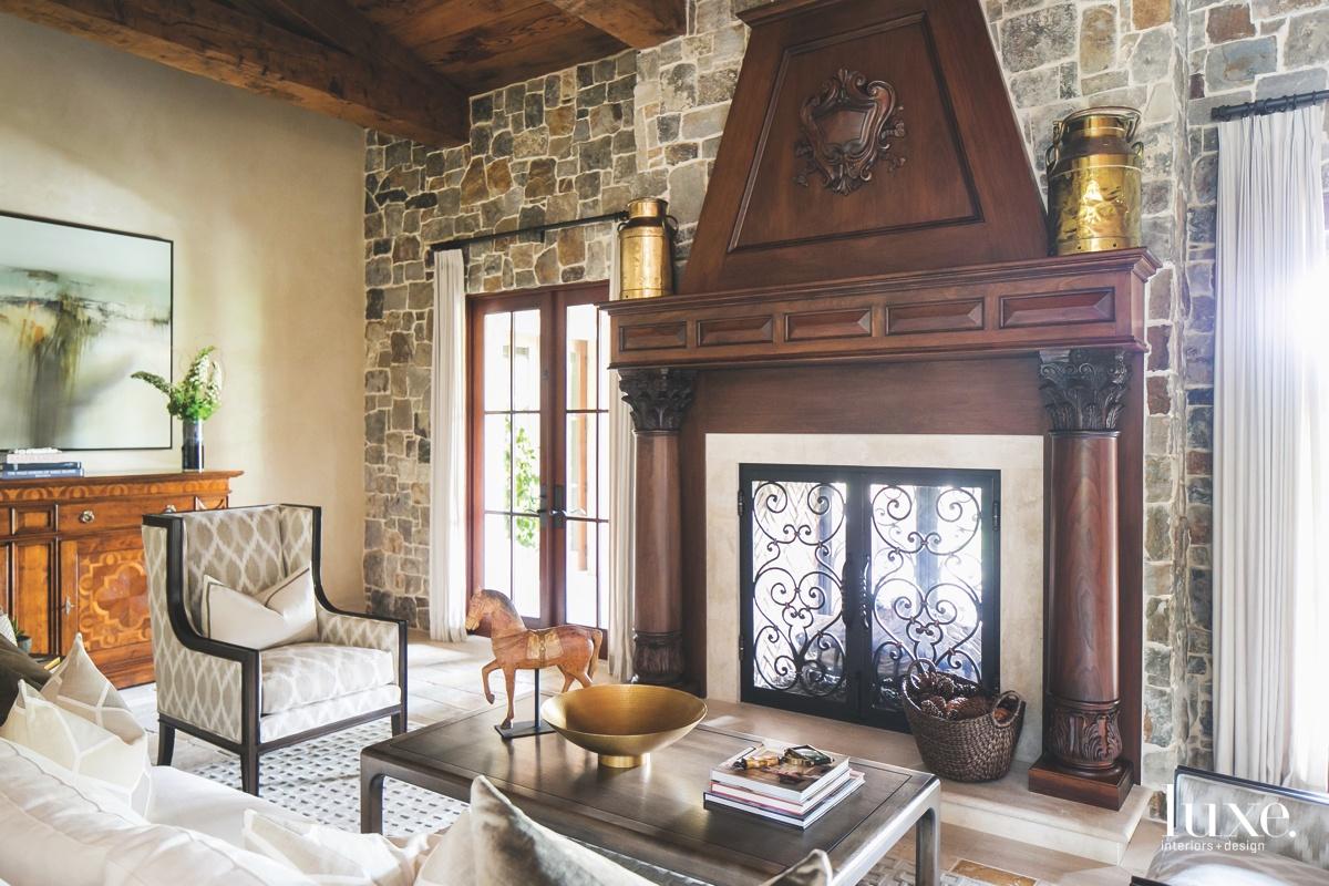 mediterranean living room fireplace coffee...