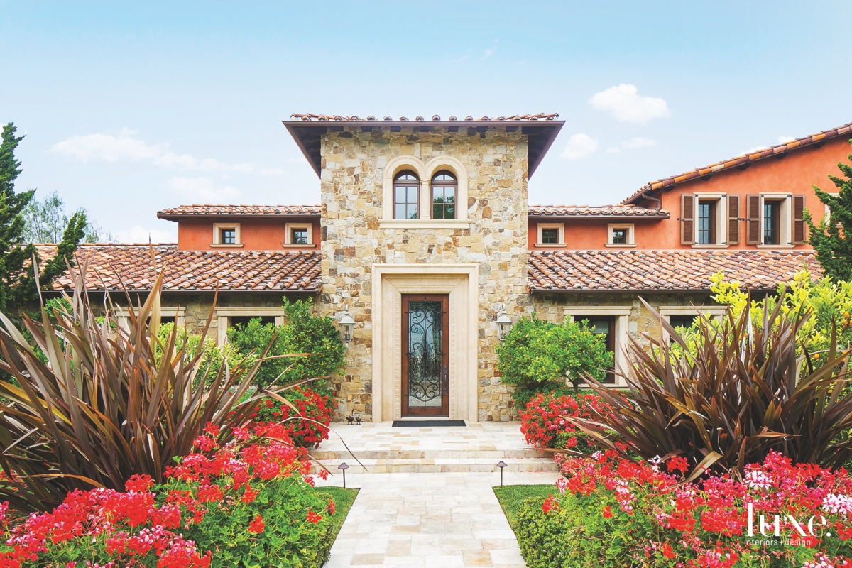 mediterranean exterior entry and landscape