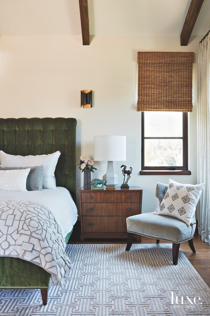 transitional bedroom green velvet framed...