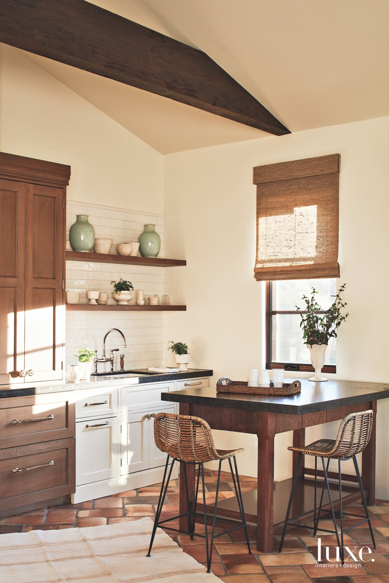 transitional neutral small kitchen in...