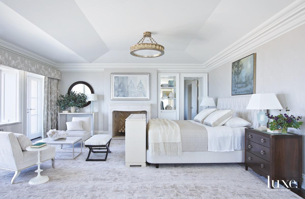 mediterranean gray bedroom fireplace