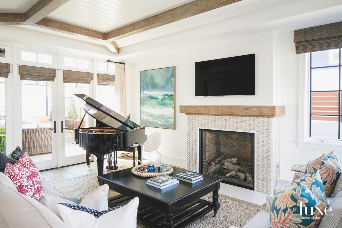 coastal living room fireplace jute...