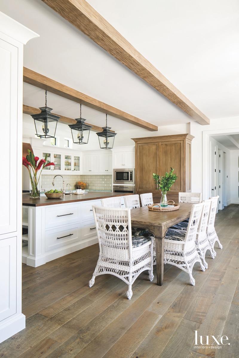 coastal kitchen and dining area...