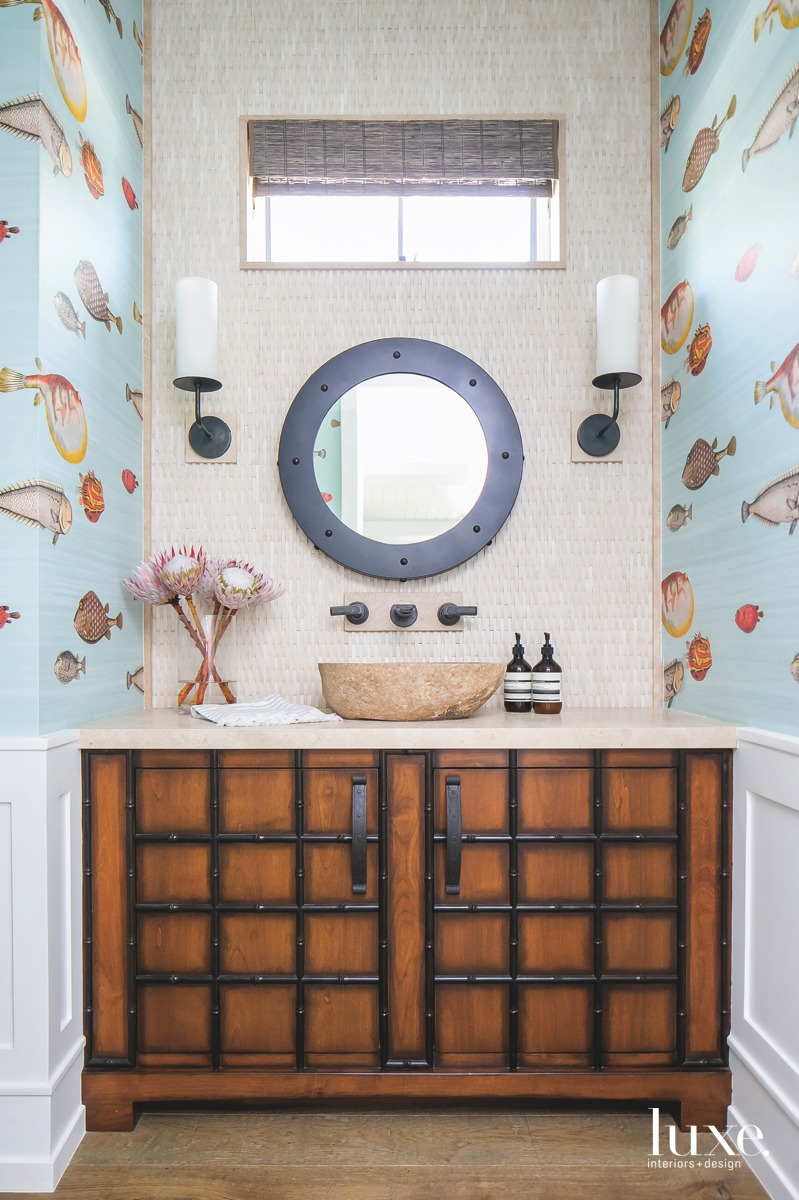 coastal bathroom fish patterned wallpaper