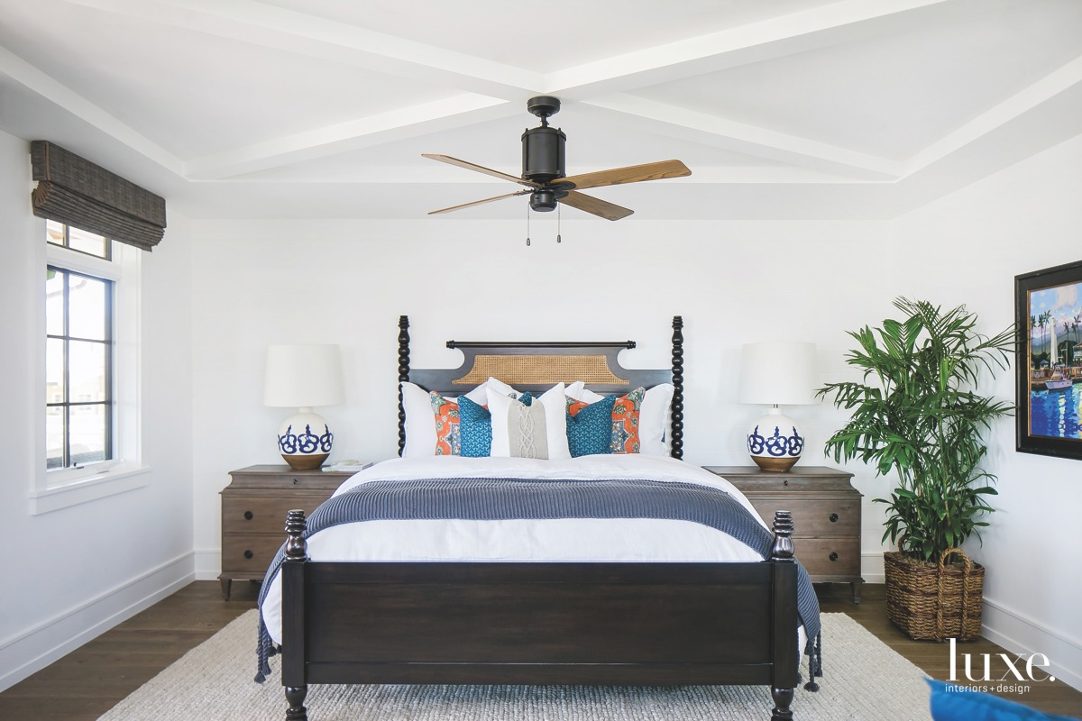 coastal bedroom white walls blue...