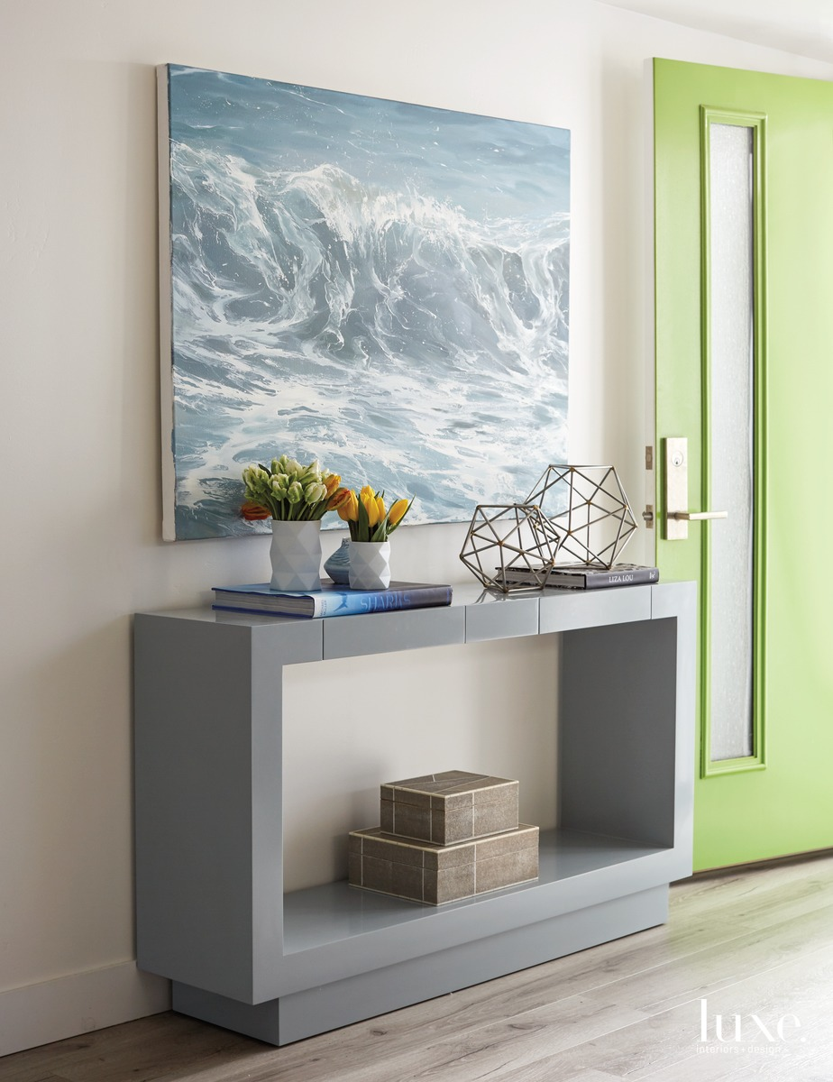 contemporary entryway gray console table