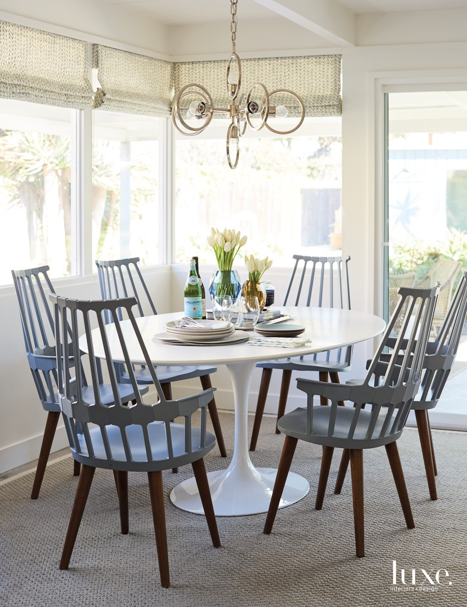contemporary dining area gray-blue hues