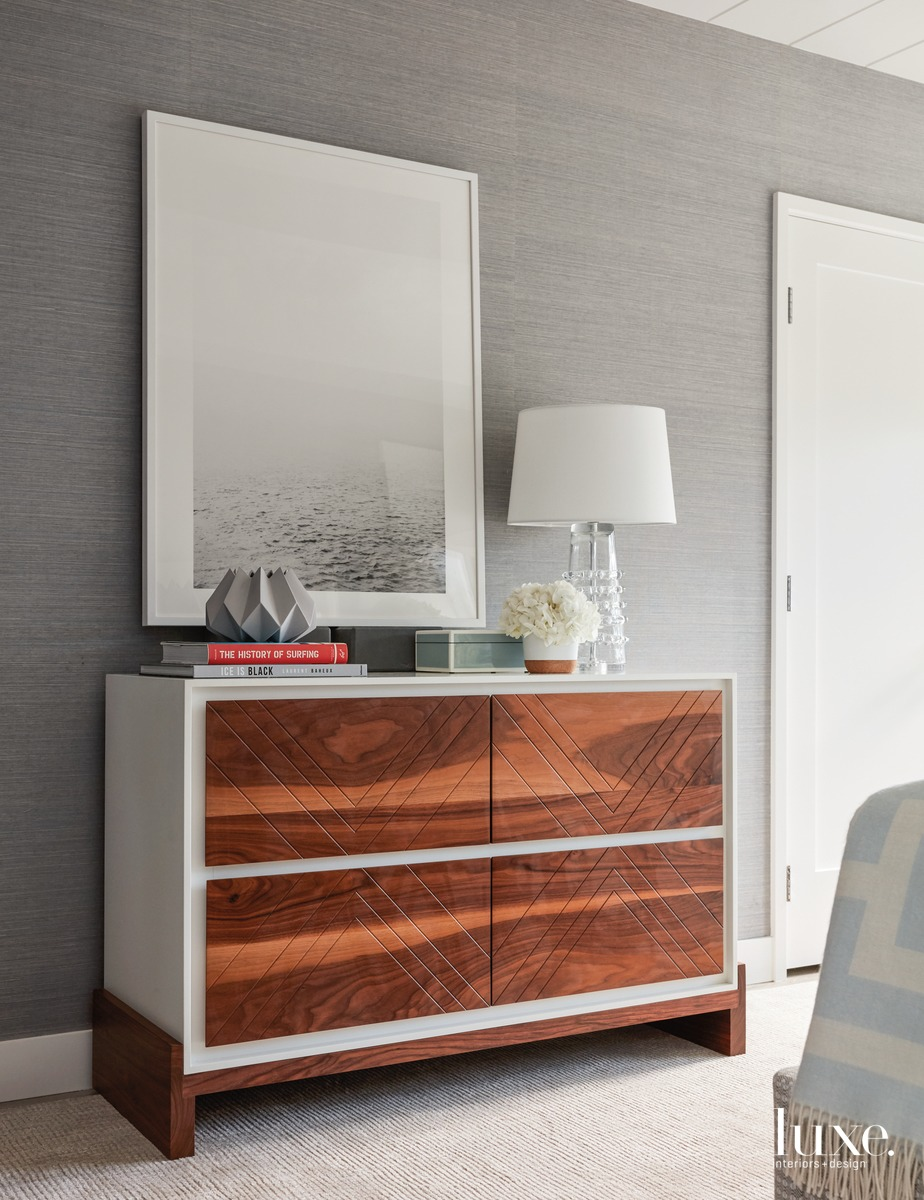 contemporary bedroom gray white-lacquered dresser...