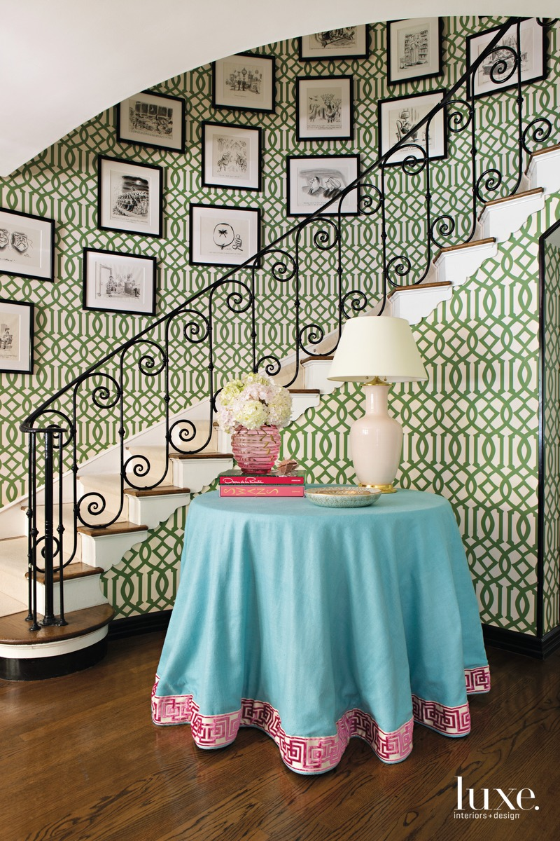 traditional staircase green wallpaper and...