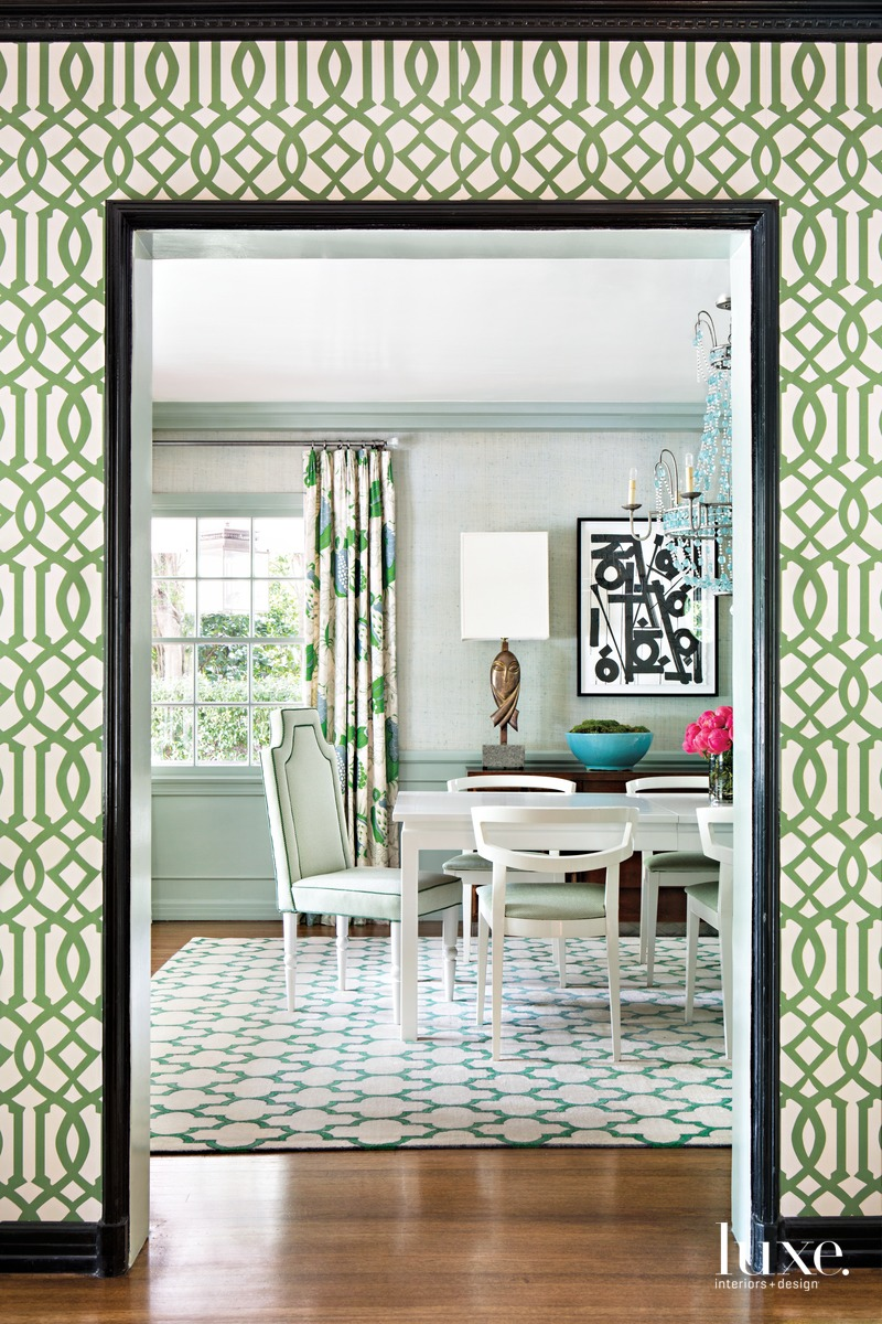 traditional green dining room