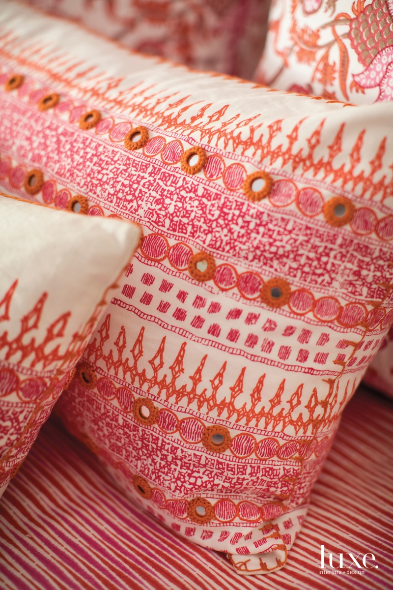 traditional pink pillows in bedroom