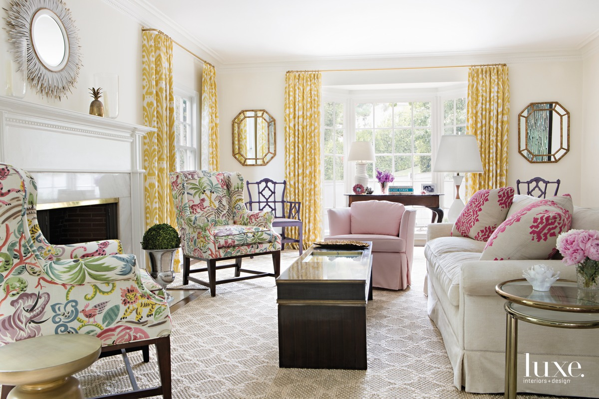traditional living room pink and...