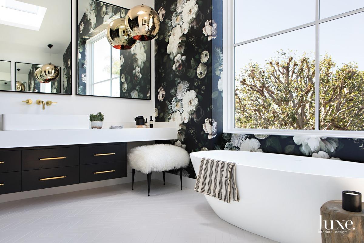 farmhouse bathroom white freestanding tub