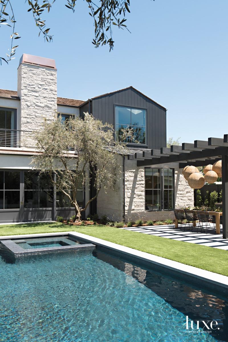farmhouse exterior and pool