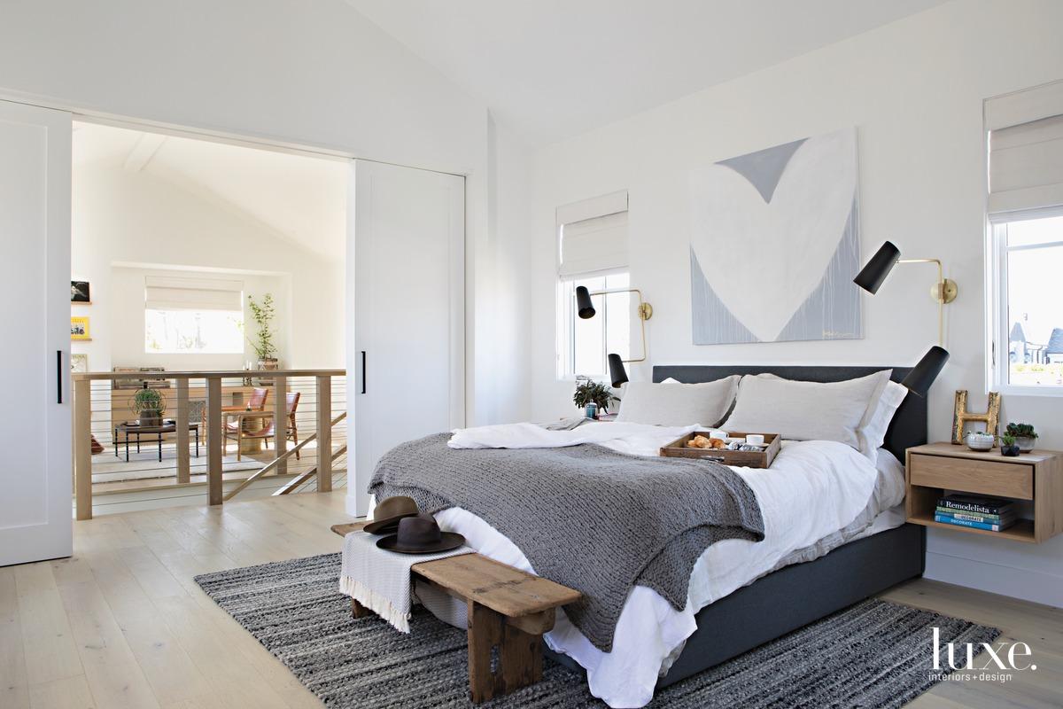farmhouse white bedroom gray accents