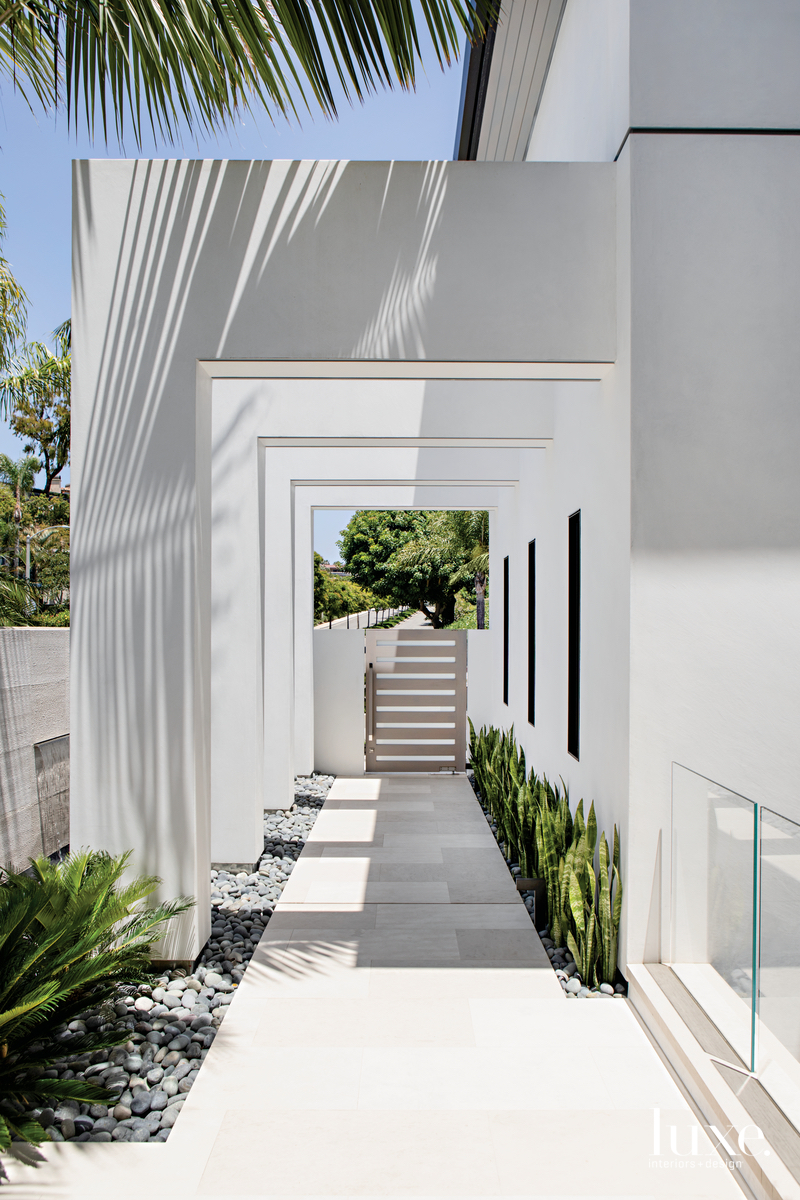 modern exterior walkway white