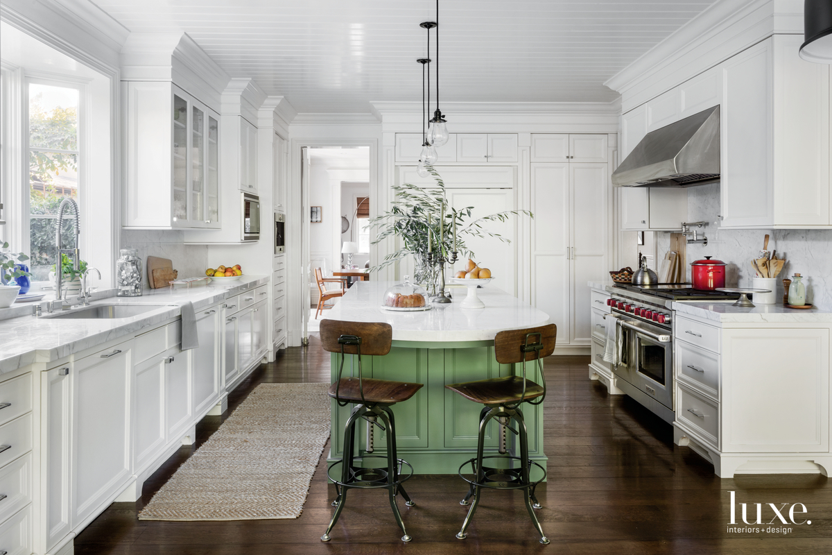 eclectic white kitchen green island