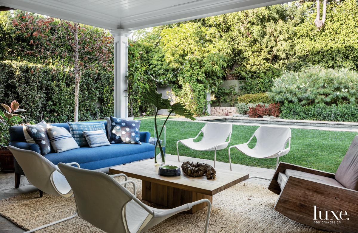 eclectic outdoor sitting area blue...