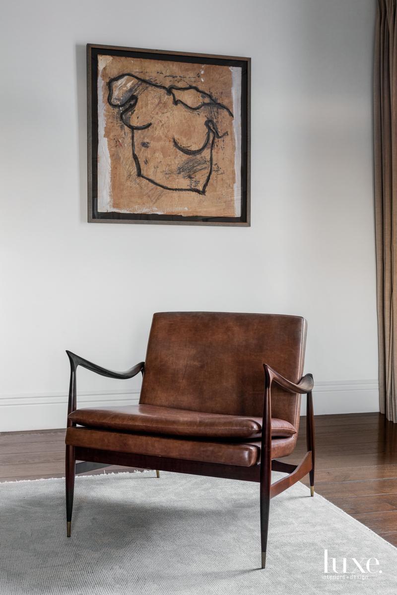 eclectic bedroom brown chair