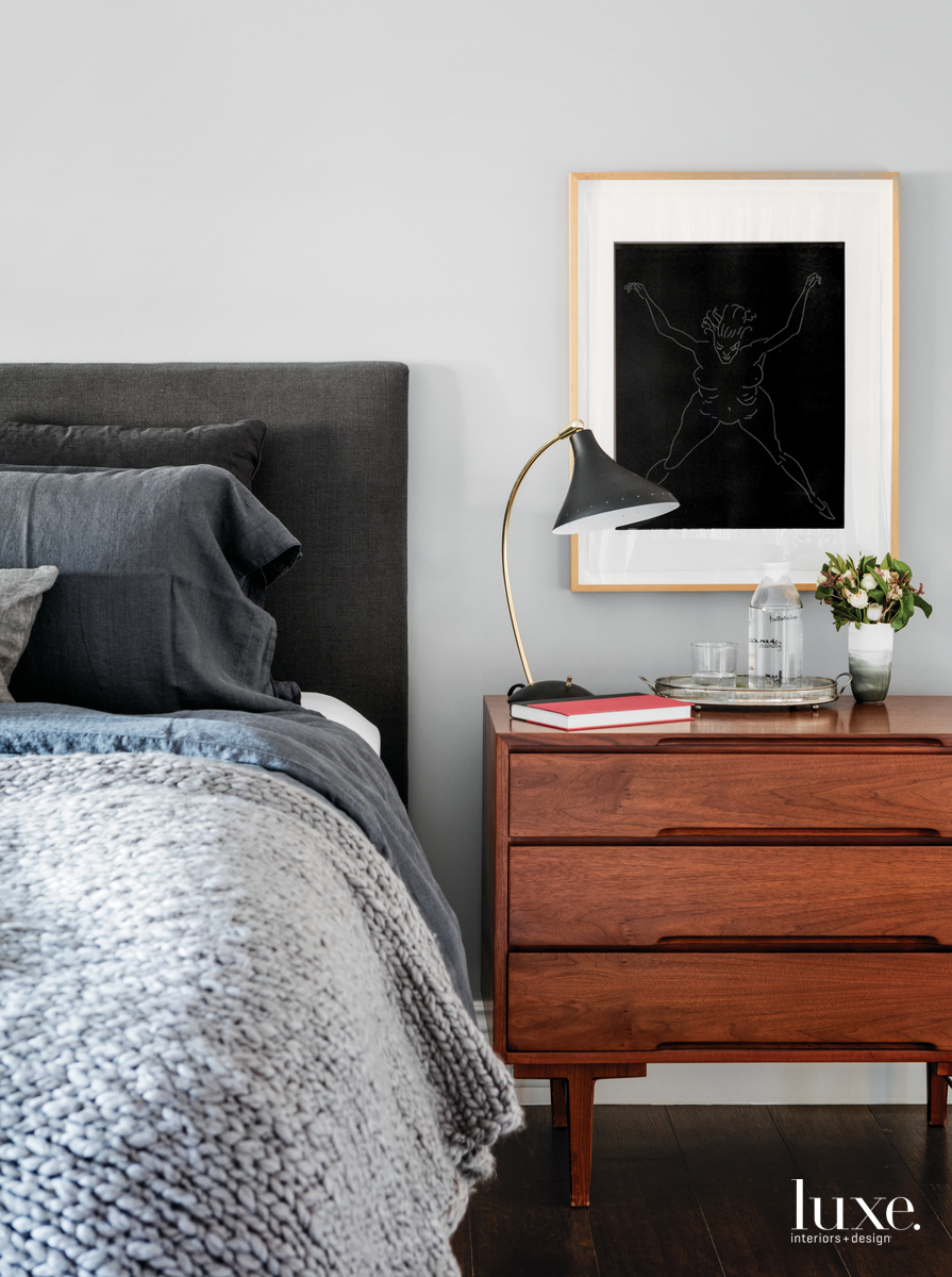 eclectic bedroom gray bed