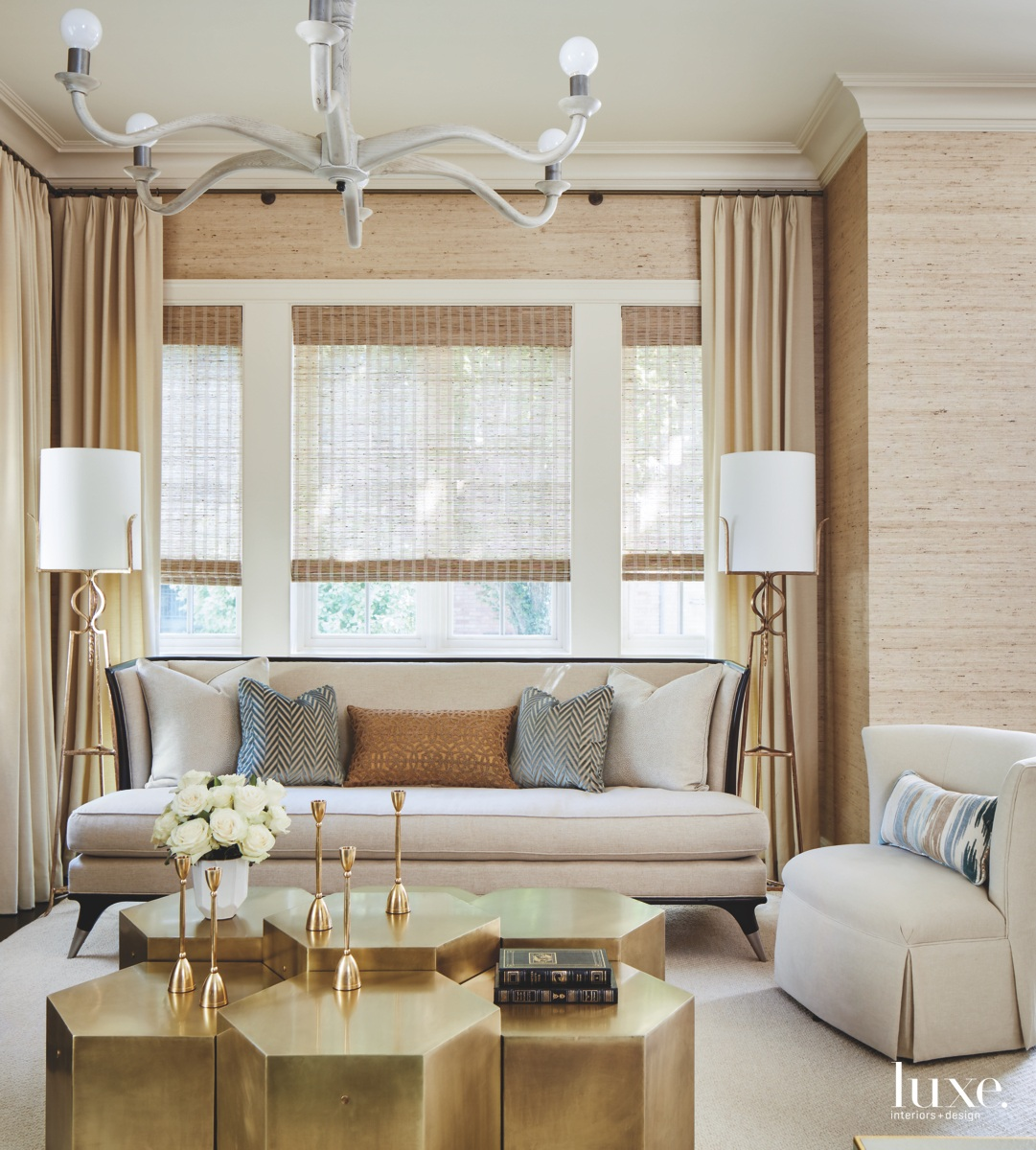 contemporary living room gold tables...