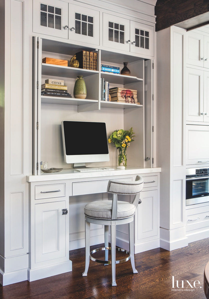 contemporary white desk area in...