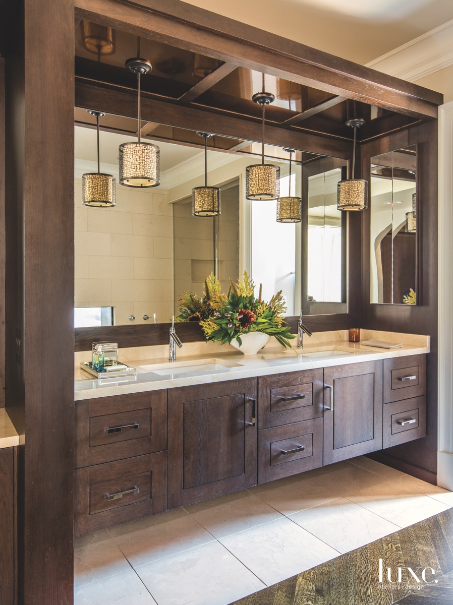 contemporary bathroom wood cabinetry stone...