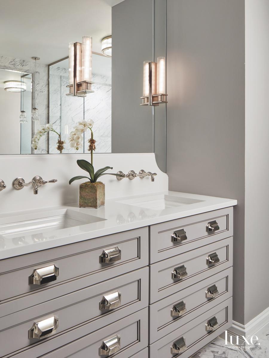 contemporary gray bathroom sconces