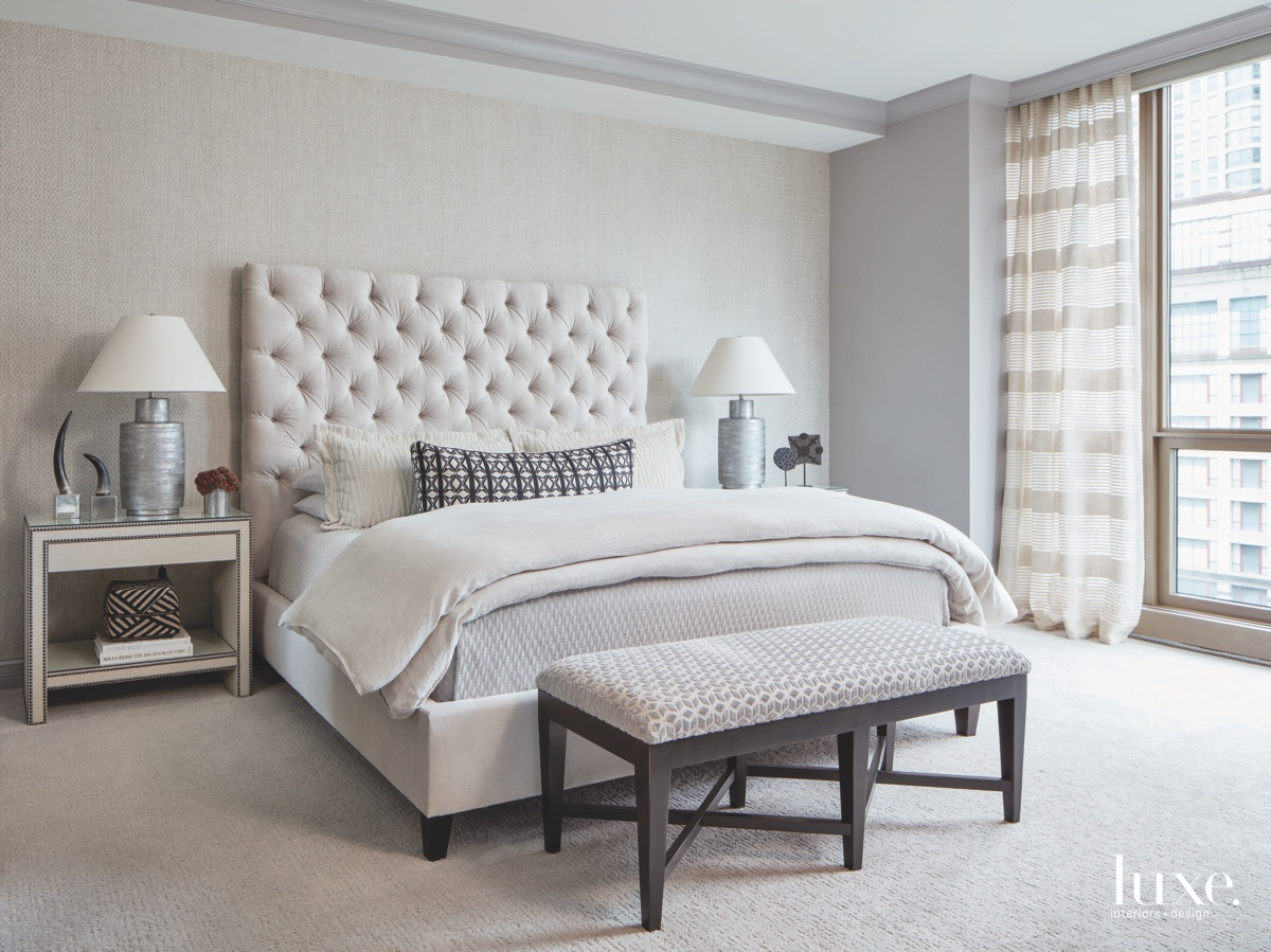 contemporary neutral gray bedroom bed