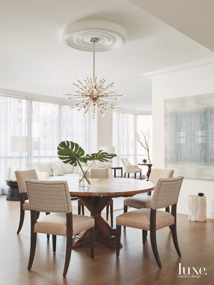 contemporary dining area neutral abstract...